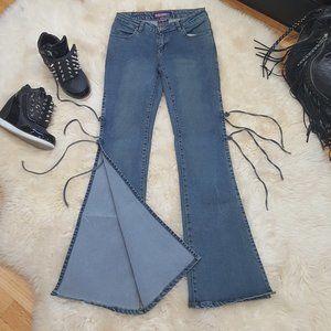 💥Vintage 90s Side Split Double Tie Flare Jeans💥